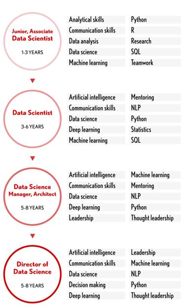 אלה סוגי המיומנויות שחשוב להדגיש עבור כל אחד מהתפקידים בתחום ה- Data: